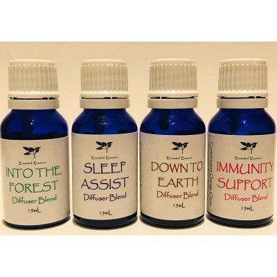Diffuser Blend 15mL x 4:  Immunity Support, Sleep Assist, Into the Forest & Down to Earth